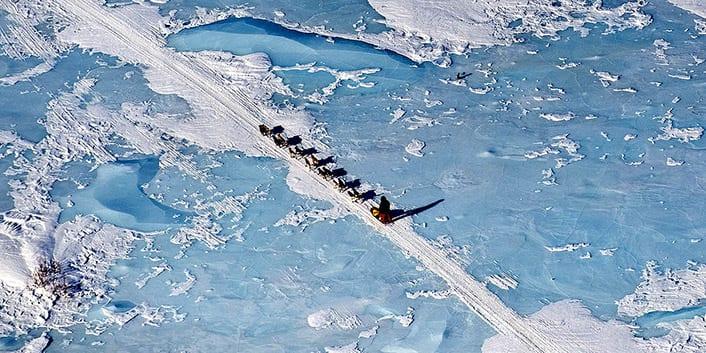 Iditarod dogteam across frozen lake, Alaska