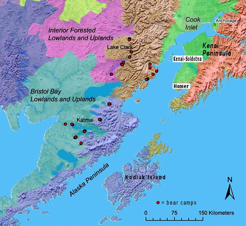 Alaska & Kenai Peninsula map, bear camps