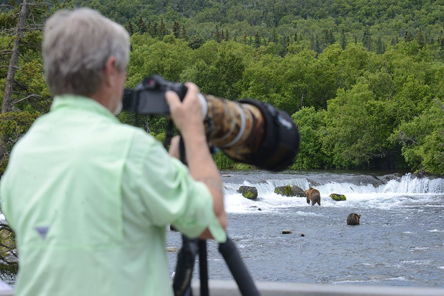 Photographer and brown bears, Brooks Falls, Alaska